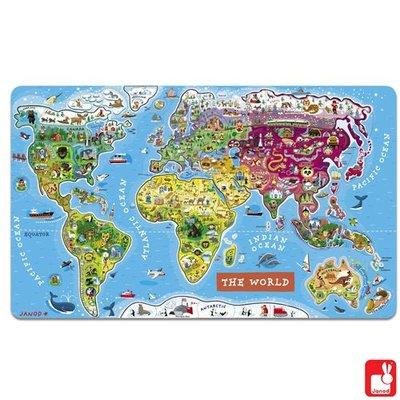 Janod Magnetische Wereldkaart in Engelse taal