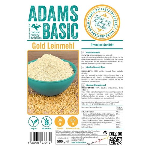 Adam's - Gouden lijnzaadmeel (500 gr)