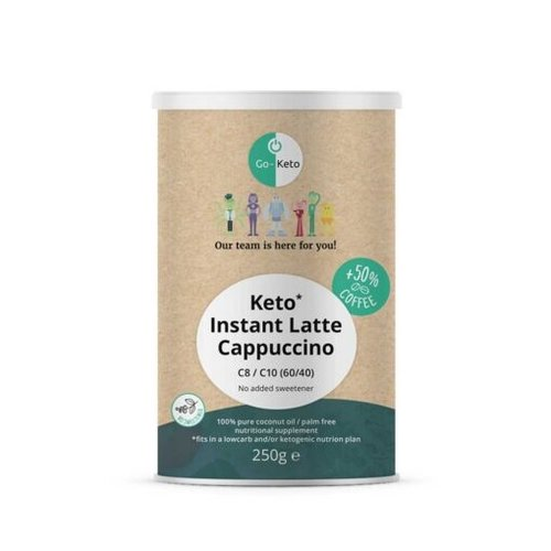 Go-Keto - Instant Keto Latte Cappuccino ongezoet (250 gr)