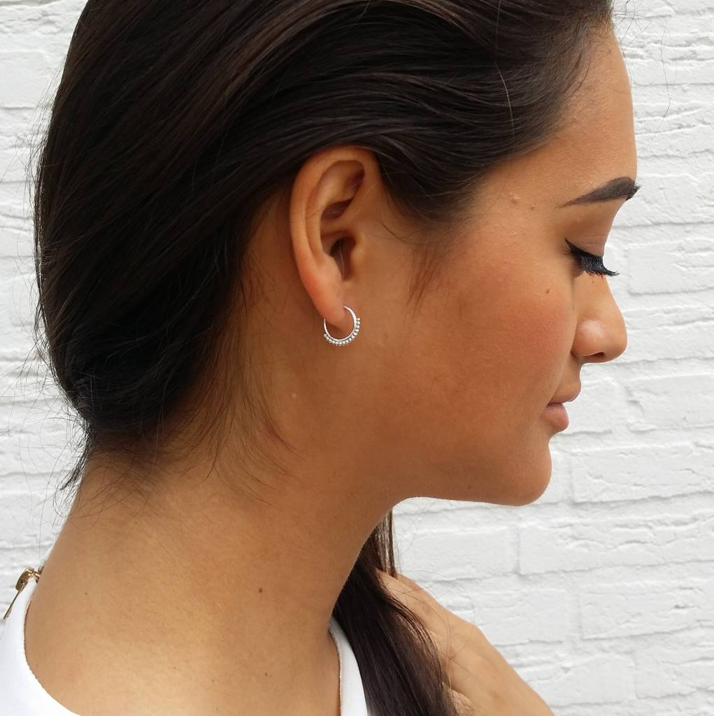 EDGY DOTTED HOOPS - SILVER