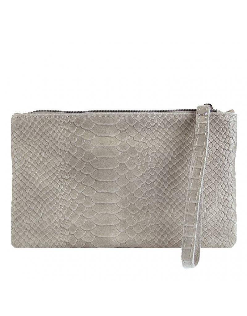 LEATHER SNAKE CLUTCH