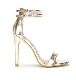 DOUBLE STRAP HEELS - GOLD