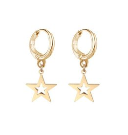 FALLING STAR HOOPS - GOLD