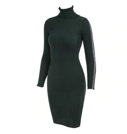 GLITTER STRIPE COL DRESS - GREEN