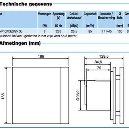 Soler & Palau S&P Silent Design 100 CZ aan/uit Badkamer/ toilet ventilator - Ø100mm
