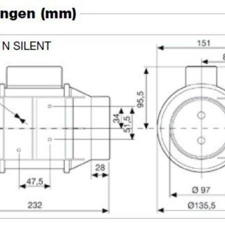 Soler & Palau S&P Buisventilator TD-160/100 NT Silent NALOOPTIMER aansluitdiameter 100mm