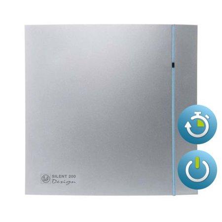 Soler & Palau S&P Silent Design 200 CRZ TIMER Badkamer/ toilet ventilator - Ø120mm (zilver)
