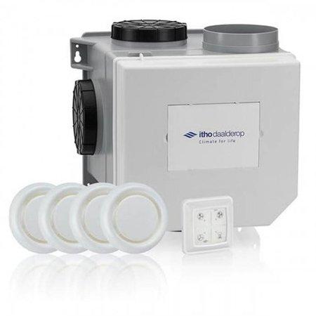Itho Daalderop Itho Daalderop CVE-S eco fan ventilator box alles-in-1 pakket SE/SH + vochtsensor + RFT auto + 4 ventielen - euro stekker & perilex stekker