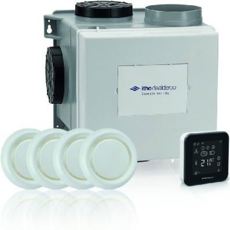 Itho Daalderop Itho Daalderop CVE-S eco fan ventilator box alles-in-1 pakket SPI + vochtsensor + RFT spider base + 4 ventielen - perilex stekker & eurostekker