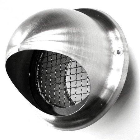 Bolrooster RVS Ø125mm met grofmazig gaas en hoge doorlaat