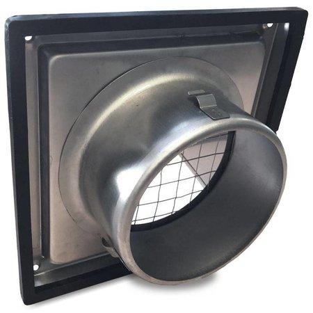 Gevelkap RVS aansluitmaat Ø100mm met grofmazig gaas (hoge doorlaat)