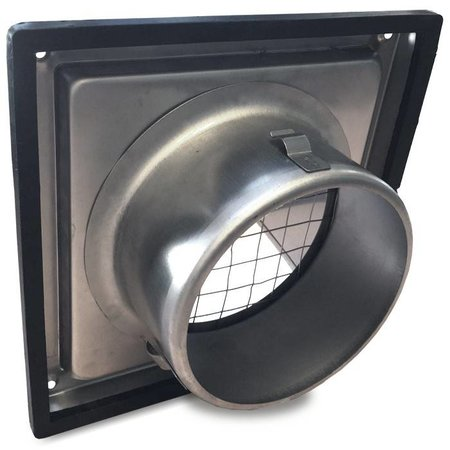 Gevelkap RVS aansluitmaat Ø125mm met grofmazig gaas (hoge doorlaat)