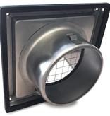Gevelkap RVS aansluitmaat Ø150mm met grofmazig gaas (hoge doorlaat)