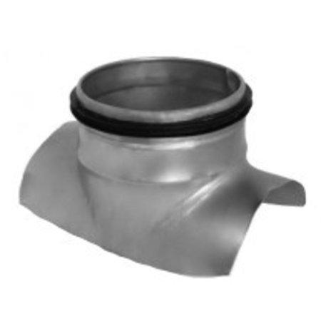 Zadelstuk 90 graden - op buis Ø250mm met aftakking  Ø100mm