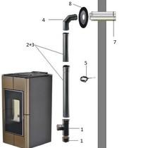 COMPLETE SET voor rookgas afvoer door muur (muurdoorvoer)