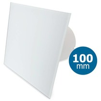 Badkamer/toilet ventilator - standaard - Ø100mm - vlak glas - mat wit