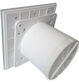 Pro-Design Badkamer/toilet ventilator - standaard - Ø100mm - vlak glas - mat wit