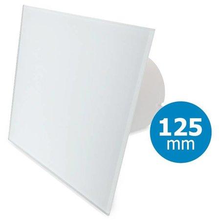 Pro-Design Badkamer/toilet ventilator - standaard - Ø125mm - vlak glas - mat wit