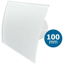 Badkamer/toilet ventilator - standaard - Ø100mm - gebogen glas - mat wit