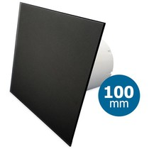 Badkamer/toilet ventilator - standaard - Ø100mm - vlak glas - mat zwart