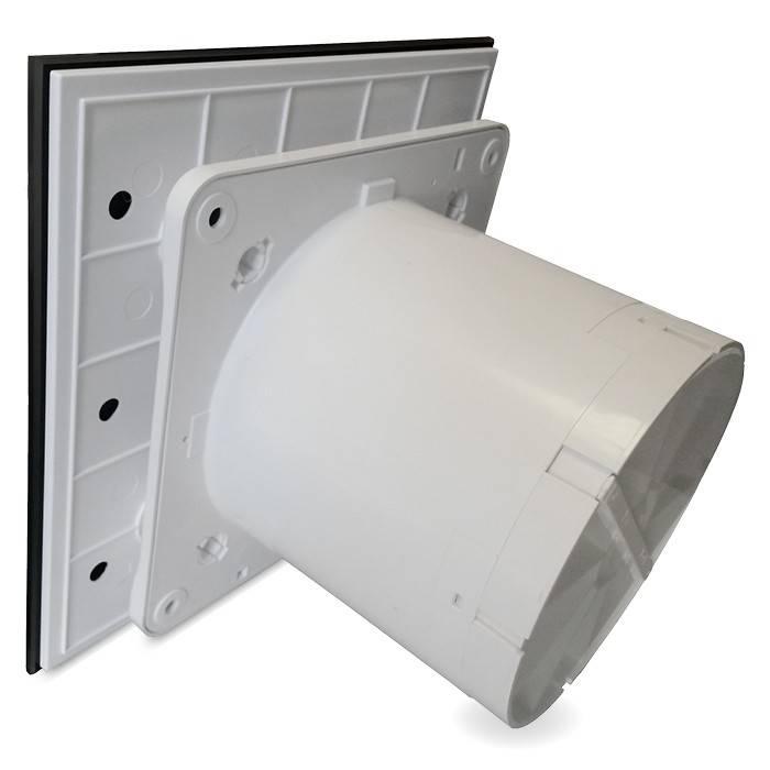 Badkamer Toilet Ventilator Standaard 125mm Vlak Glas Mat Zwart Filterfabriek Nl
