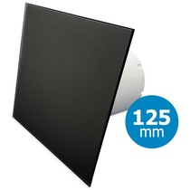 Badkamer/toilet ventilator - standaard - Ø125mm - vlak glas - mat zwart