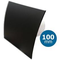 Badkamer/toilet ventilator - standaard - Ø100mm - gebogen glas - mat zwart