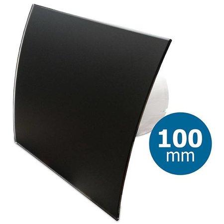 Pro-Design Badkamer/toilet ventilator - standaard - Ø100mm - gebogen glas - mat zwart