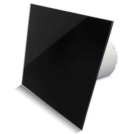 Pro-Design Badkamer/toilet ventilator - standaard - Ø100mm - vlak glas - glans zwart