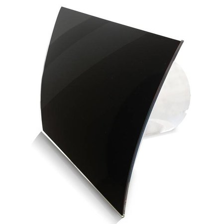 Pro-Design Badkamer/toilet ventilator - standaard - Ø100mm - gebogen glas - glans zwart