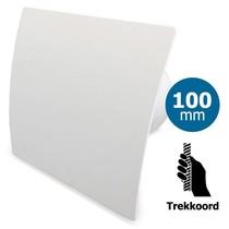 Badkamer/toilet ventilator - trekkoord - Ø100mm - gebogen kunststof wit