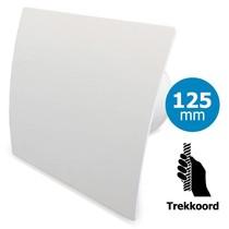 Badkamer/toilet ventilator - trekkoord - Ø125mm - gebogen kunststof wit