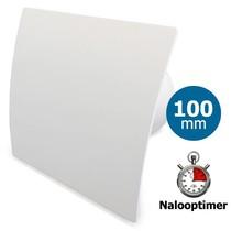 Badkamer/toilet ventilator - met timer - Ø100mm - gebogen kunststof wit