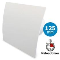 Badkamer/toilet ventilator - met timer - Ø125mm - gebogen kunststof wit