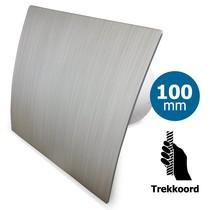 Badkamer/toilet ventilator - trekkoord - Ø100mm - zilver