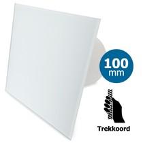 Badkamer/toilet ventilator - trekkoord - Ø100mm - vlak glas - mat wit