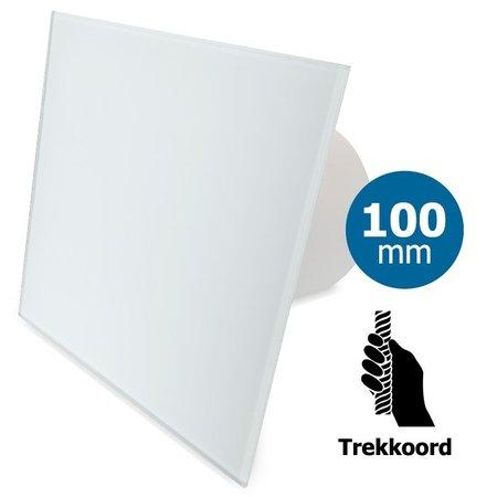 Pro-Design Badkamer/toilet ventilator - trekkoord - Ø100mm - vlak glas - mat wit