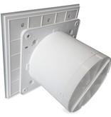 Pro-Design Badkamer/toilet ventilator - trekkoord - Ø125mm - vlak glas - mat wit