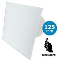 Badkamer/toilet ventilator - trekkoord - Ø125mm - vlak glas - mat wit