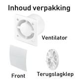 Pro-Design Badkamer/toilet ventilator - trekkoord - Ø100mm - gebogen glas - mat wit