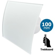 Badkamer/toilet ventilator - trekkoord - Ø100mm - gebogen glas - mat wit