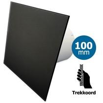 Badkamer/toilet ventilator - trekkoord - Ø100mm - vlak glas - mat zwart