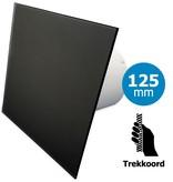Pro-Design Badkamer/toilet ventilator - trekkoord - Ø125mm - vlak glas - mat zwart