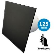 Badkamer/toilet ventilator - trekkoord - Ø125mm - vlak glas - mat zwart