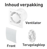 Pro-Design Badkamer/toilet ventilator - trekkoord - Ø100mm - gebogen glas - mat zwart