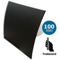 Badkamer/toilet ventilator - trekkoord - Ø100mm - gebogen glas - mat zwart