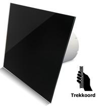 Badkamer/toilet ventilator - trekkoord - Ø100mm - vlak glas - glans zwart