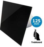 Pro-Design Badkamer/toilet ventilator - trekkoord - Ø125mm - vlak glas - glans zwart