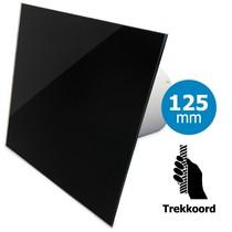 Badkamer/toilet ventilator - trekkoord - Ø125mm - vlak glas - glans zwart