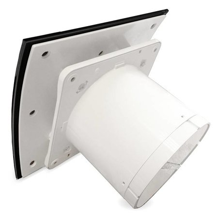 Pro-Design Badkamer/toilet ventilator - trekkoord - Ø100mm - gebogen glas - glans zwart